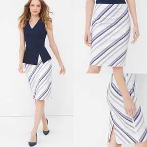 WHBM Diagonal Stripe Pencil Skirt Blue/Rust, studs